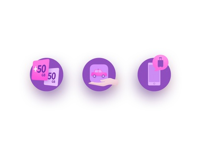 Icons ui design interface hand pink purple pictogram taxi phone illustration icon