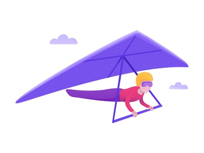 Hang Glinding icon vector flat clouds fly glide hang gliding illustration