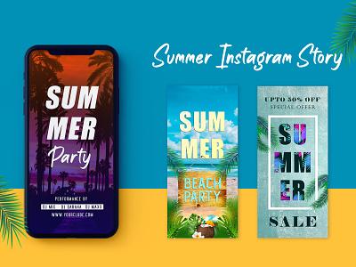 Free Summer Instagram Story Set instagram template instagram stories web element freebie instagram adobe photoshop photoshop graphic design