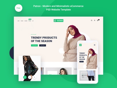 Patron – Free Modern And Minimalistic E-Commerce PSD Template uidesign uiuxdesign design ui ux design adobe photoshop uiux ui photoshop ui design graphic design