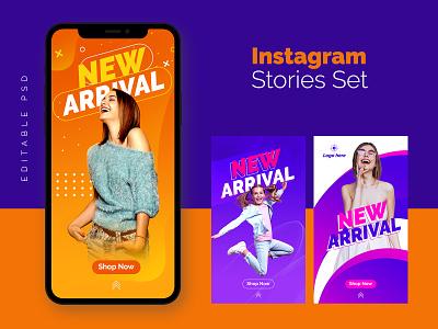 Free Fashion Sale Instagram Stories Set instagram stories ecommerce business psd template psd design branding graphic design photoshop