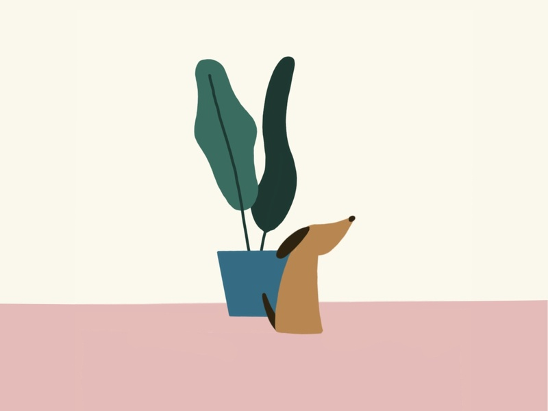 A Pup and a Plant neutral plant dog minimalist illustration
