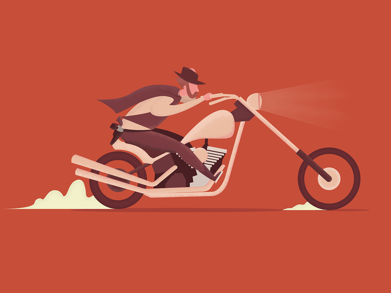 Howdy design vector cowboy illustration character motorcycle
