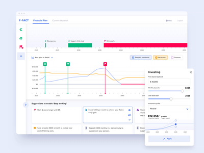 Dashboard for Financial Planner amsterdam webdesign webapplication webapp ui  ux timeline sliders popup investment graphs fintech ui dashboard design dashbaord calculator bars animation