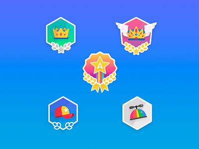 Achievements Badges wings star gradient trophies rank branding vector 2d illustration crown hat badge
