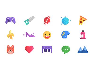 Categories icons set art music fox banana pizza disco sport diy gaming illustration icon set icons