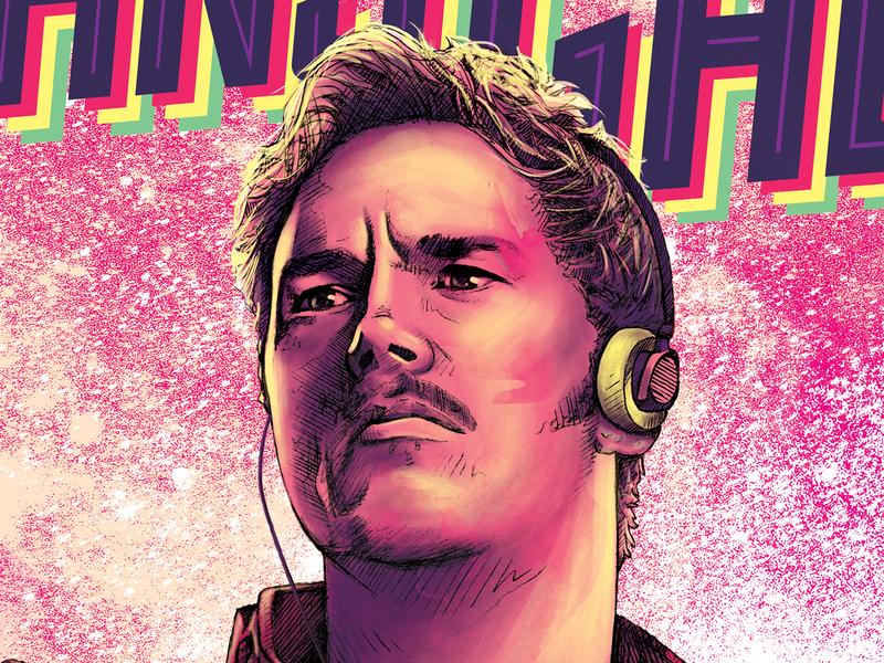 Star Lord digital art poster illustration marvel comics guardians of the galaxy movie poster pencil drawing illustration