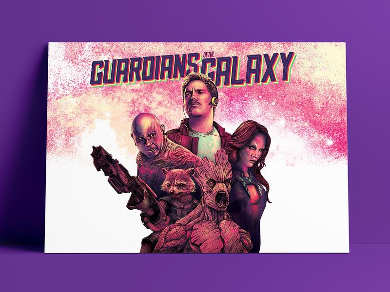 Guardians Of The Galaxy poster art digital art marvel comics guardians of the galaxy movie poster digital illustration pencil drawing illustration