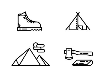 Camping tent wood axe mountain boot stroke icons camping