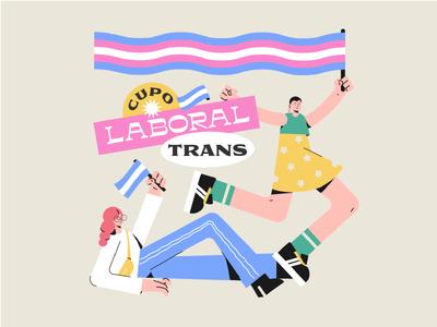 Trans Rights trasgender pride woman vector illustration