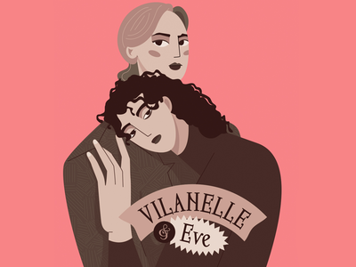 Killing Eve character retro woman vector illustration