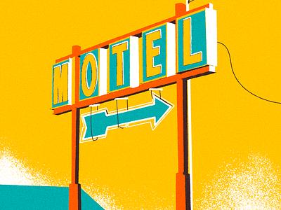 Motel hotel yellow vintage sign motel vector illustration