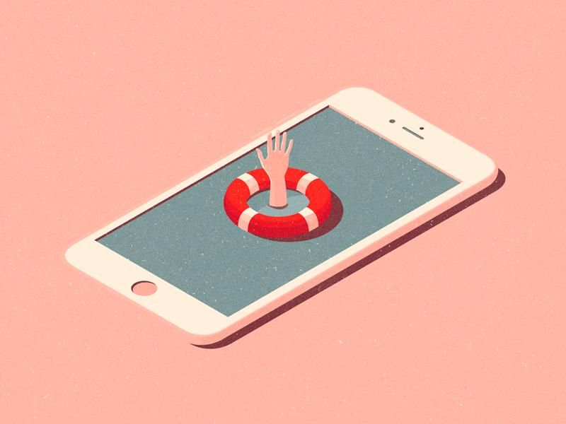 Rescue saveboat hand rescue addiction social media vector illustration