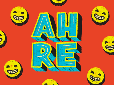 Ah, re. smile fun text lettering chalk type illustration