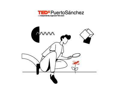 Explorar tedx look flower explore man vector illustration