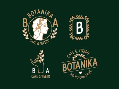 Botanika typography logo design vector branding illustration