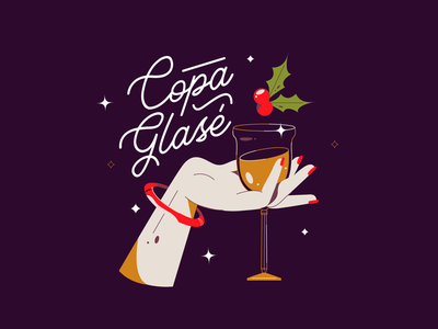 Copa Glasé cheers glass champagne christmas xmas woman vector illustration
