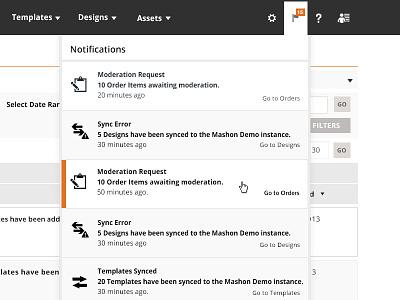 Notification Dropdown notifications dashboard admin