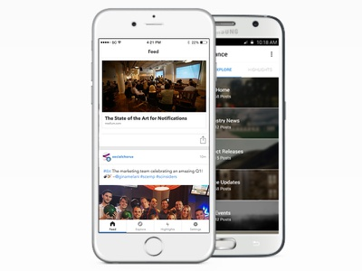 Feed update news explore feed cards android ios