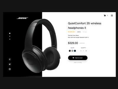 Bose Single Product sketch design app webdesign productcard dailyui qc35 bose clean