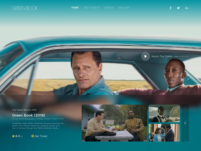 Green Book Hero Pages award academy awards academy movie imdb munich clean design app ui home heropage green book