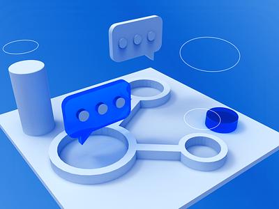 Share 3d design blue app web uiux ui 3d art 3d