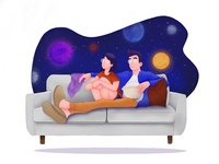 Loungin' married cuddle movie chill love family illustration couple cosmic space