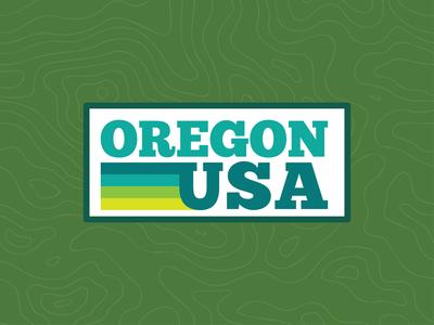 Oregon, USA oregon design blue type pacific northwest outdoors northwest color badge illustration