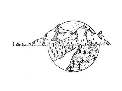 Mountain Pen Illustration camping tent inspiration tattoo nature 0.1 0.2 freehand line art pen drawing illustration