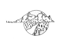 Mountain Pen Illustration