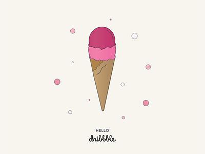 Hello Dribbble! illustration debut first shot dribbble ice cream