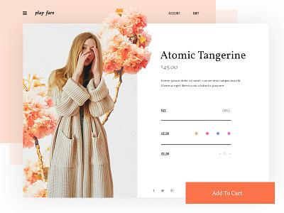 Atomic Tangerine fashion girl web minimal design clean ui ux ecommerce sweater flowers product