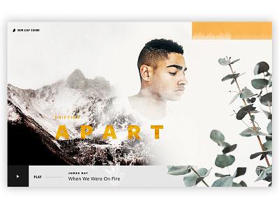 Drifting Apart web ux ui gold music minimal boy mountians ecommerce design clean