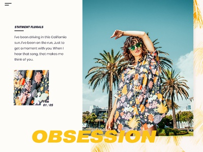 Obsession statement florals palm california web ux ui minimal gold ecommerce design clean