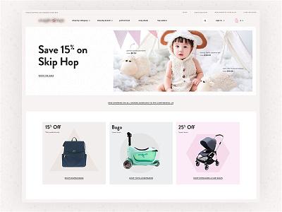 Cozy Kids web ux ui minimal kids ecommerce design baby clean