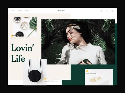 Olive & June web ux ui statement palm minimal gold florals ecommerce design clean
