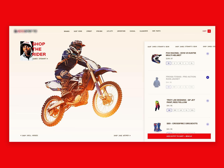 Xtreme Outfit Builder web design website website design ui dailyui dirtbike design ecommerce ux