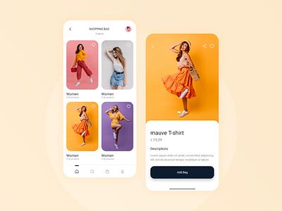 Clothes Store App mobile interaction women appdesign cart orange android app store ecommerce cards illustration ios gradient color design branding graphic design animation ui