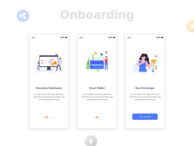 Crypto Currency Onboarding screens interaction