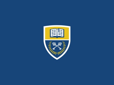 School Crest page yellow blues bible laurels keys book k-12 education school private school