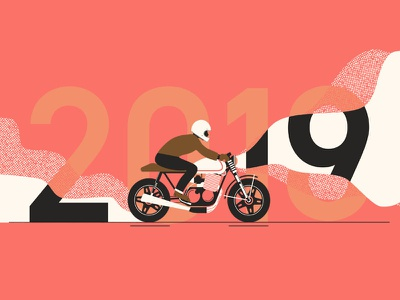 2019: A New Year pantone holiday illustration cafe racer motorcycle 2018 new years new years eve 2019