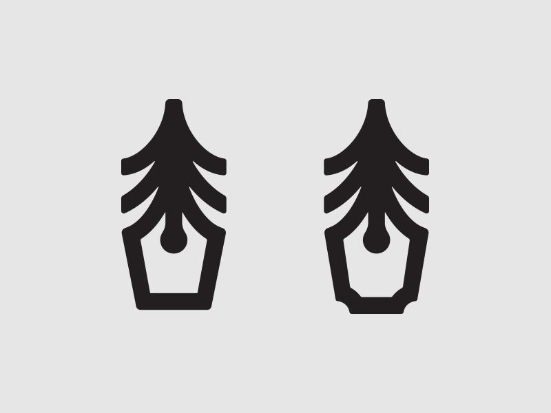 Tree + Pen WIP branding woodart tree pen design modern clean logo