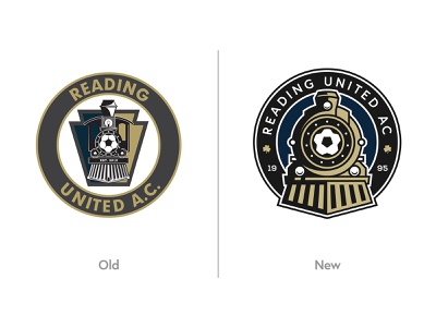 Reading United AC - Before / After clean before and after rebrand futbol clovers train soccer crest logo after