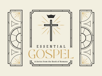 Essential Gospel 2 church branding essential gospel sermon art church stained glass glass cross light crown gold typography serif vector colors illustration