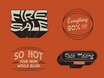 Fire Sale fun vintage colors lockup illustration throwback vector typography retro