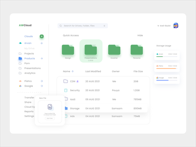 Cloud Storage web storage cloud ui dashboard uiux