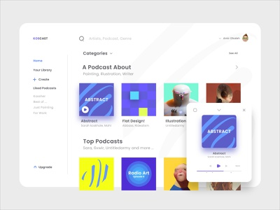 Koscast play ui podcast dashboard web uiux