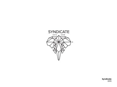 Syndicate creative syndicate elephant lineart graphic design logo design logo