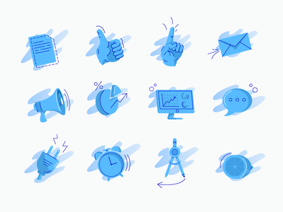 Marketing Icons time clock blue line illustration fresh measure plugin message analytics email point thumbsup hand