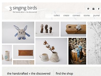 3 Singing Birds website responsive craft artisan minimal texture